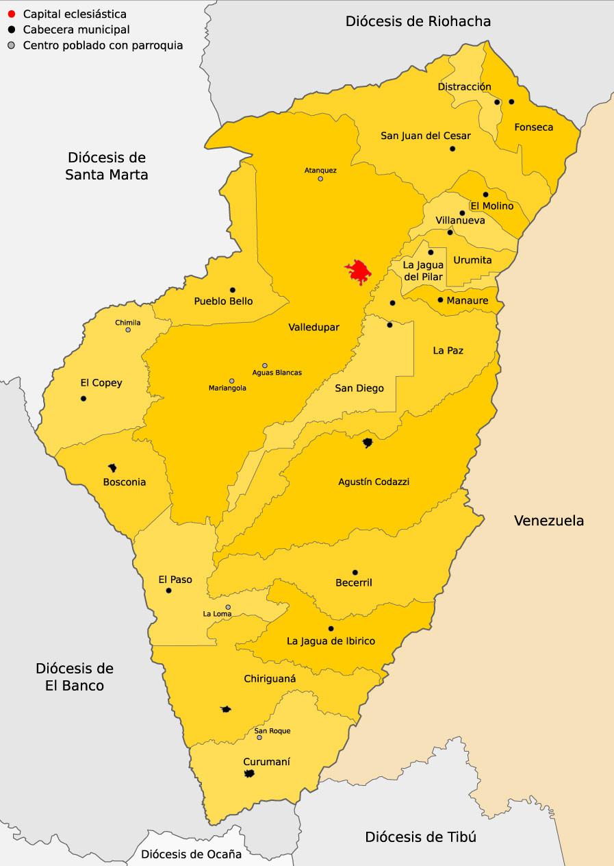 Mapa parroquias de Valledupar